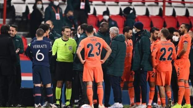 PSG v Istanbul Basaksehir: Both teams walk off pitch as match temporarily suspended